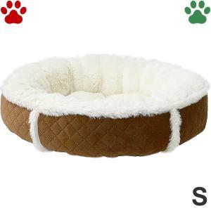 ラウンドベッド キルト×ボア S 直径45cm ブラウン ペットベッド 丸型 かわいい シンプル ふわふわ 茶 RB-67 大阪杉本|tokoton-dogfood