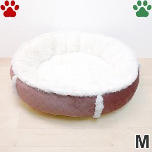 ラウンドベッド キルト×ボア M 直径55cm ローズ ペットベッド 丸型 かわいい シンプル ふわふわ ピンク RB-67 大阪杉本|tokoton-dogfood