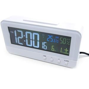 【10】 mag 電波時計 置時計 カラーハープ ホワイト T-684 WH 温湿度計 ノア精密 デジタル カラー 置き時計