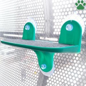 ドギーマンハヤシ 絶景リゾートテラス 猫用 グリーン 体重10kgまで 窓ガラス取付 キャットウォーク ステップ スペース キャティーマン|tokoton-dogfood