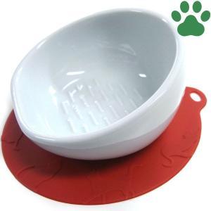 【30】 ハリオ 猫用フードボウル にゃんプレ ショートヘア(短毛種用) レッド 滑り止めシリコンマット付き 食器 陶器 フードボール お洒落 シンプル