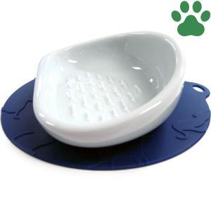 ハリオ 猫用フードボウル にゃんプレ ロングヘア(長毛種用) ブルー 滑り止めシリコンマット付き 食器 陶器 フードボール お洒落 ネイビー|tokoton-dogfood
