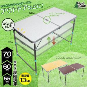 商品名 折りたたみアルミテーブル  サイズ  ●組立て時 約 縦60×横120×高さ(最大)70(c...