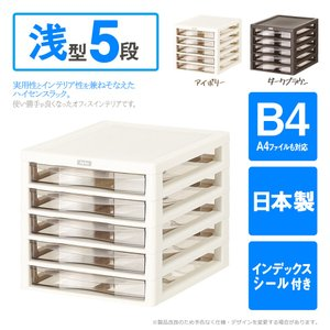 収納ボックス アプロスB4 浅型 5段 レターケース 書類ケース 収納BOX 収納ケース メーカー直送  代引き不可 送料無料/|toku109shop