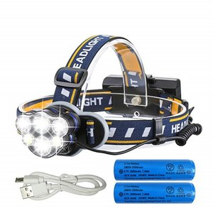 LEDヘッドライト 12000ルーメン USB充電式 軽量 防水 8点灯モード 作業灯 防災 登山 ...