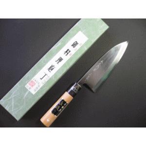 本職用出刃包丁(白鋼) 165mm水牛柄付「三木特撰上作」TD403C|tokusan55