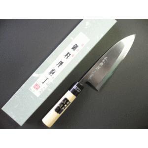 本職用出刃包丁(白鋼) 180mm水牛柄付「三木特撰上作」TD403D|tokusan55
