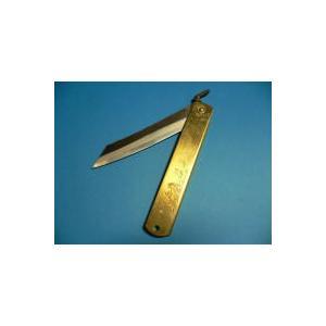 肥後守ナイフ 真鍮 青紙割込 (大) 120mm(竹虎絵入り)|tokusan55|03