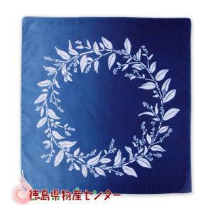 藍染めハンカチ(藍花リース)本場阿波徳島の伝統工芸品 天然の藍染製品! tokushima-shop