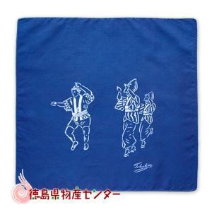 藍染めハンカチ(阿波踊り子)本場阿波徳島の伝統工芸品 天然藍染製品!|tokushima-shop