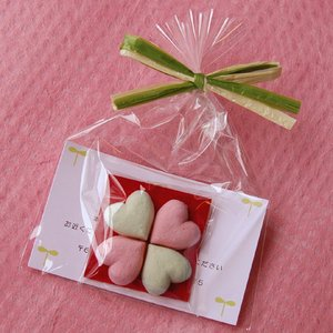 幸せを呼ぶハートの和三盆4粒入♪《四つ葉のクローバー仕立て》メッセージカード付ラッピングでブライダルギフトに最適♪|tokushima-shop