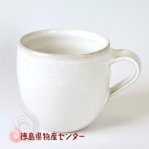 大谷焼 陶器 マグカップ(白 短丸型)和食器/コップ/ティーカップ/日本製/徳島県伝統民工芸品/贈答/ギフト tokushima-shop