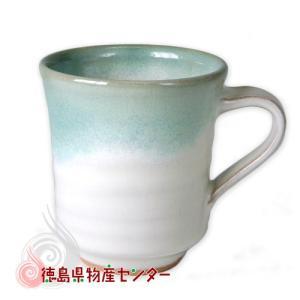 大谷焼 陶器 マグカップ(青流し 長型)和食器/コップ/ティーカップ/日本製/徳島県伝統民工芸品/贈答/ギフト tokushima-shop