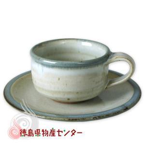 大谷焼 陶器 ティーカップ&ソーサー 1客(平アイボリー 巻ゴス)和食器 コップ 日本製 徳島県伝統民工芸品 贈答 ギフト tokushima-shop