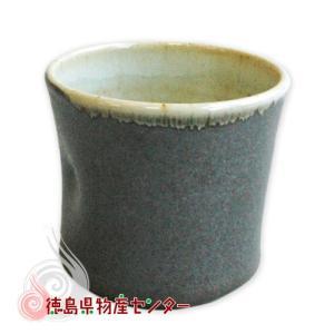 大谷焼 焼酎カップ(鉄砂 内アイボリー 陶器)和食器 コップ 酒器 日本製 徳島県伝統民工芸品 贈答 ギフト tokushima-shop