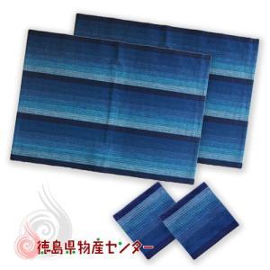 阿波しじら織りランチョンマット&コースターのセットC (藍縞No1) tokushima-shop