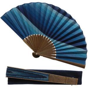 阿波しじら織 扇子(せんす) 壇流し K009 木紺柄 [家庭用][贈答][ギフト][父の日][敬老の日] tokushima-shop