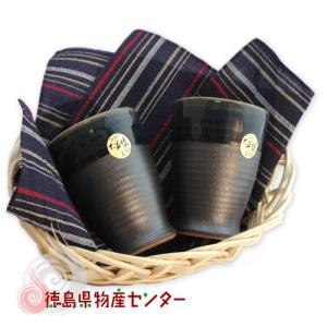 大谷焼 陶器 ペアジョッキ&阿波しじら織のハンカチ/敬老の日/母の日/父の日 tokushima-shop