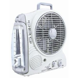 WINTECH  充電式ポータブルLEDライト付き小型扇風機 AM/FMラジオ付  8インチタイプ(20.32cm)CFL-20|tokutokutokiwa