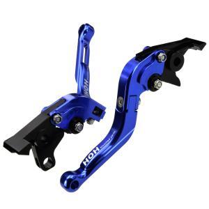 ブレーキ&クラッチレバー セット 伸縮/可倒式 アルミ削り出し(C777F14) 青 トライアンフ タイガー1200に|tokutoyo