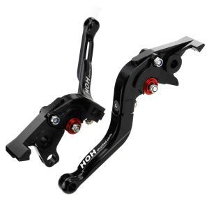 ブレーキ&クラッチレバー セット 伸縮/可倒式 アルミ削り出し(C777F14) 黒 ZRX750/ZRX1100/ZRX1200に|tokutoyo