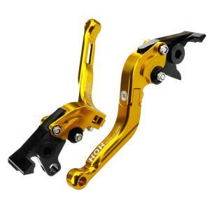 ブレーキ&クラッチレバー セット 伸縮/可倒式 アルミ削り出し(C777F14) ゴールド ZRX750/ZRX1100/ZRX1200に tokutoyo