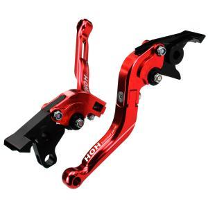 ブレーキ&クラッチレバー セット 伸縮/可倒式 アルミ削り出し(C777F14) 赤 トライアンフ タイガー1200に|tokutoyo