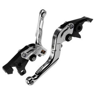 ブレーキ&クラッチレバー セット 伸縮/可倒式 アルミ削り出し(C777F14) 銀 トライアンフ タイガー1200に|tokutoyo