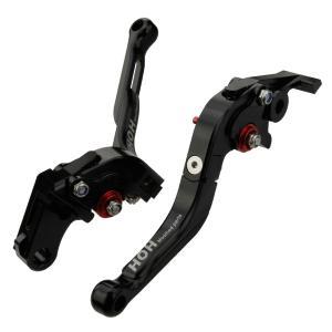 ブレーキ&クラッチレバー セット 伸縮/可倒式 (H626F18) アルミ削り出し 黒 シャドウNV400、600、750、Cに|tokutoyo