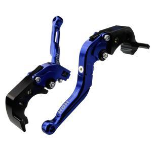 カワサキ(KAWASAKI)ブレーキ&クラッチレバー セット 可倒式 アルミ削り出し 青 ZX-14R/ZZ-R1400 (H88F88)|tokutoyo