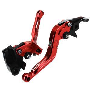 ブレーキ&クラッチレバー セット 伸縮/可倒式 アルミ削り出し(K750F14) 赤 ZZ-R250、400、600、ZX-9Rに tokutoyo