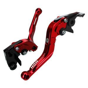 ブレーキ&クラッチレバー セット 伸縮/可倒式 (K828F14) アルミ削り出し 赤 ZX-6R/636R/6RRに|tokutoyo