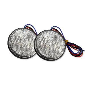 ネコポス無料 12V バイク汎用 24連LEDリフレクター 反射板 ウインカー連動 クリア 丸型 黄 2個1セット TOKUTOYO(トクトヨ)|tokutoyo