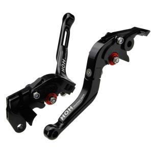 可倒式 ブレーキ&クラッチ レバーセット 6段階アジャスター式 長さ調整可 黒 スズキ GSR750/ABSに TOKUTOYO(トクトヨ)|tokutoyo