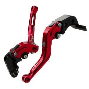 ブレーキ&クラッチレバー セット 伸縮/可倒式 アルミ削り出し(S58F35) 赤 GSX-R1000/600/750に tokutoyo