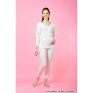 健康肌着 ひだまり 希 婦人用 8分袖インナー+スラックス下 上下セット S〜LLサイズ カラー オフホワイト    tokuyama