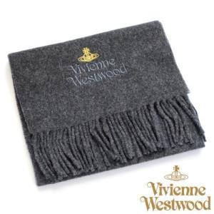 (ヴィヴィアン・ウエストウッド) Vivienne Westwood sl4-fm17-0011 同色ロゴマフラー ダークグレー 正規品|tokyo-ec