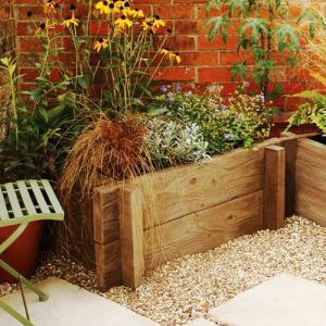 【英国製/石製花壇】ブラッドストーン社製 ウッドプランター・スリーパー 2段セット|tokyo-gardening