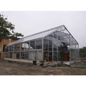 アルミ温室/2段サッシタイプ(F-8タイプ:間口4800×奥行14686×棟高3465mm、21.3坪)3mm透明ガラス|tokyo-gardening
