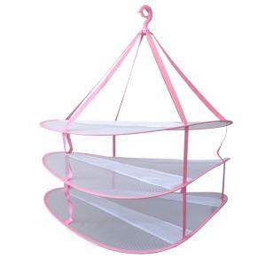 3段物干しネット 型崩れしないネット物干しランドリーネットハンガー ピンク