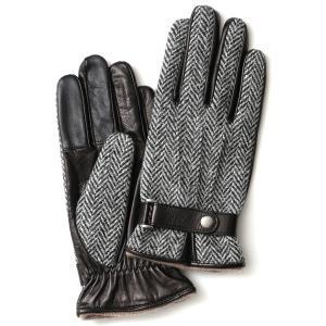 ハリスツイード 手袋 メンズ スマホ対応 カシミヤ グレー グレイ 灰色 ねずみ色 日本製 革 レザ...
