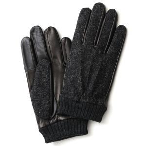 手袋 ハリスツイード メンズ タッチパネル スマホ対応 グレー グレイ 灰色 ねずみ色 カシミア リ...