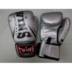 【新入荷】 TWINS ボクシンググローブ 8oz   シルバー PU LEATHER  *初心者、ボクササイズ、フィットネストレーニング