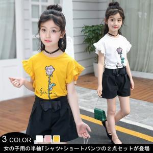 子供服 2点セット 半袖Tシャツ 半ズボン 女の子 Tシャツ...