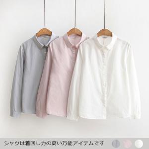 レディース ワイシャツ ブラウス 刺繍シャツ 春秋   洗いをかけたナチュラルな風合いのいいシャツが...