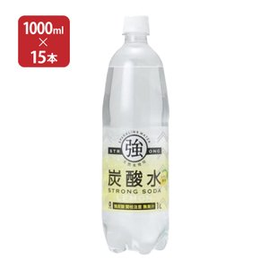 送料無料 友桝飲料 強炭酸水 レモン 1000ml×15本