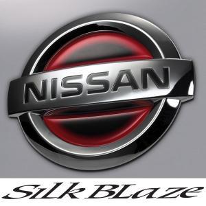SilkBlaze シルクブレイズ ヒートエンブレムシート ブラックベース[レッド/ブルー]  日産:NI04|tokyocar