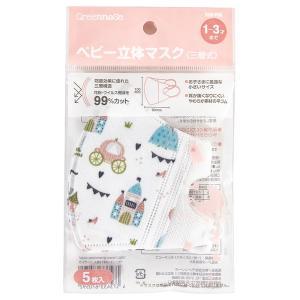 GREENNOSE 使い捨て ベビー 立体 マスク (三層式) お姫様柄 5枚入り ベビー用(1〜3歳)|tokyodogs