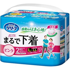 花王 リリーフ パンツタイプ 超うす型まるで下着 2回分 ピンク L〜LLサイズ 13枚入 tokyodogs