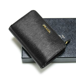 PRADA プラダ 二つ折り財布 L字ファスナー 2ML225 VITELLO MOVE BI NERO/LACCA1|tokyoimport